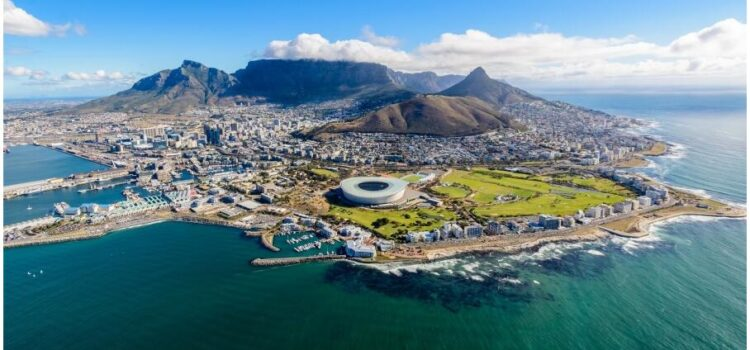 Aerial view from a helicopter over Cape Town