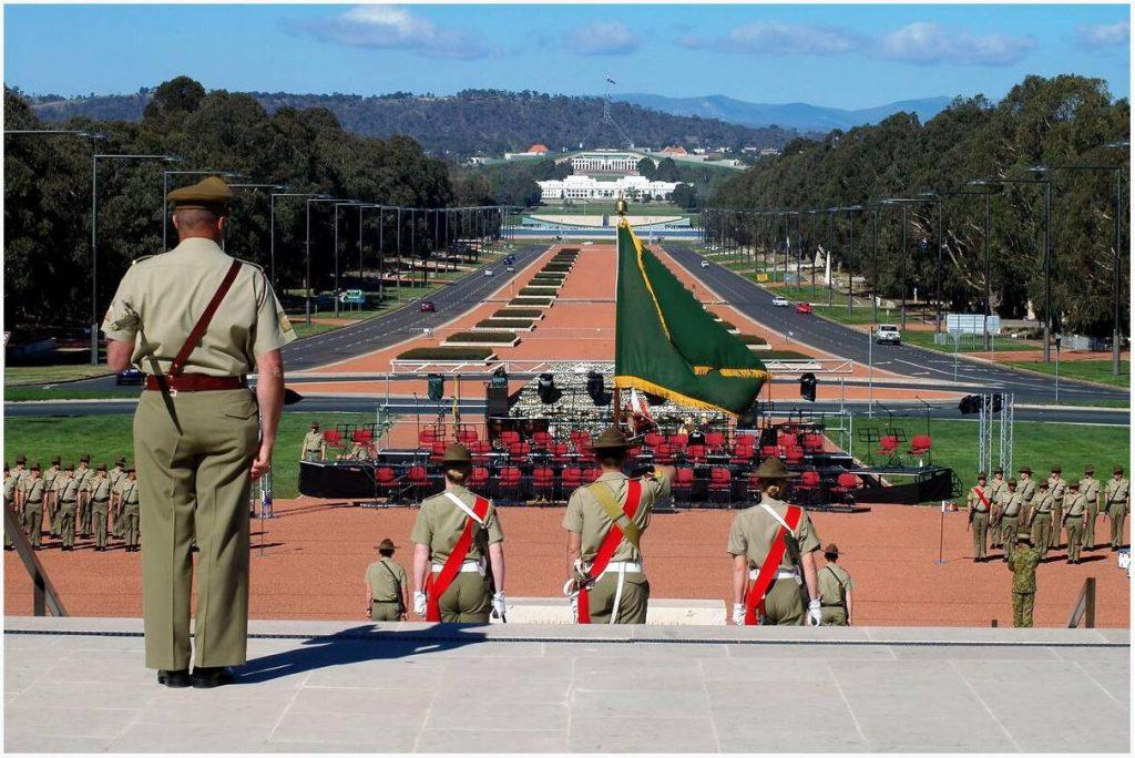Soldiers in front of Australian War Memorial